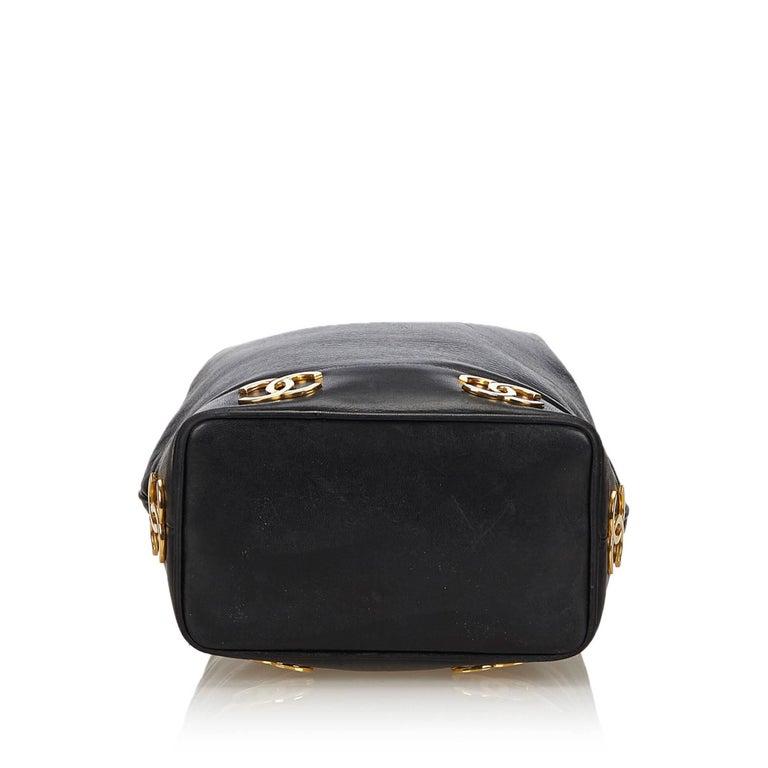 Women's Chanel Black Lambskin Leather Gold Toned