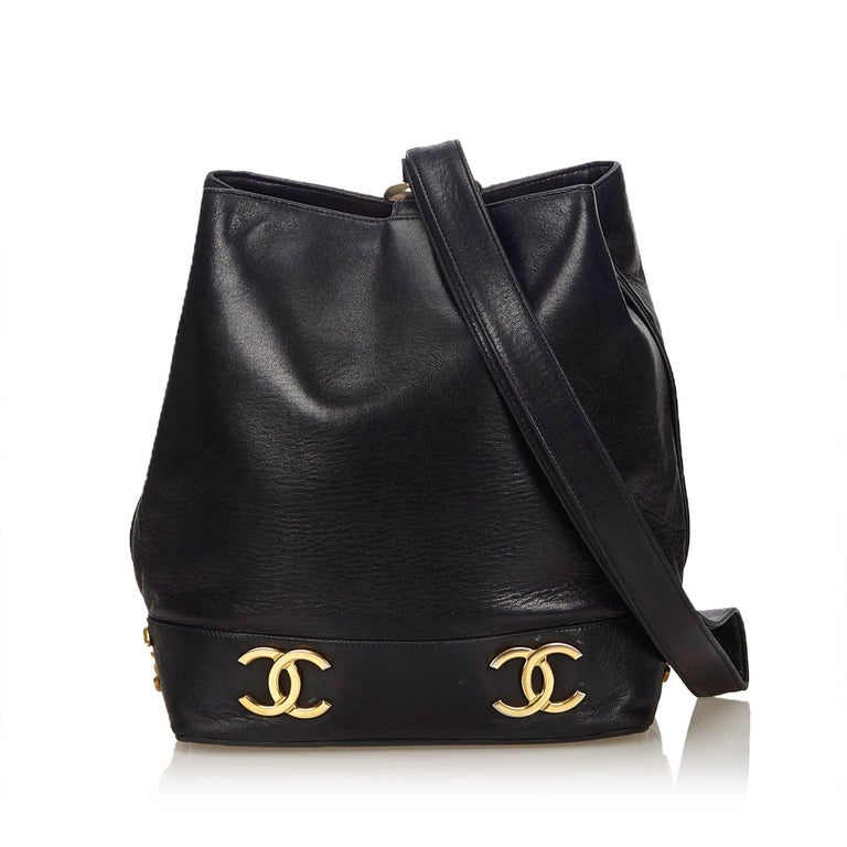 "Chanel Black Lambskin Leather Gold Toned ""CC"" Bucket Bag For Sale 5"