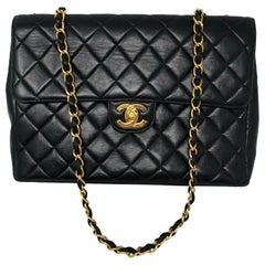 Chanel Black Lambskin Leather Jumbo