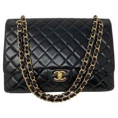 Chanel Black Lambskin Leather Maxi Bag