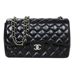 Chanel Black Lambskin Leather Quilted Double Flap Classic Jumbo Bag SHW