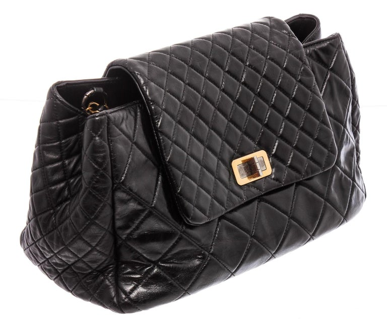 Chanel Black Lambskin Leather Reissue Accordion Flap Bag For Sale 2