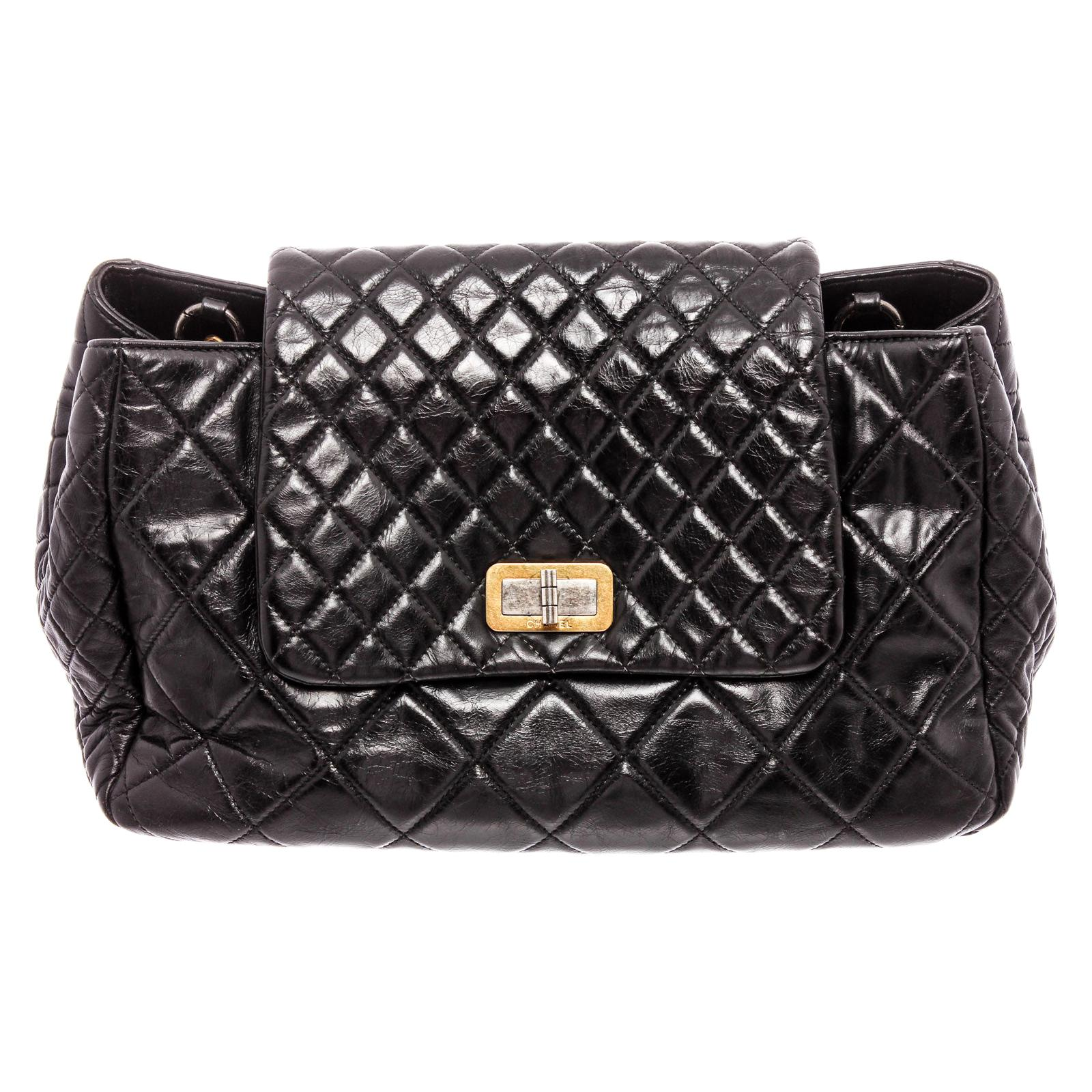 Chanel Black Lambskin Leather Reissue Accordion Flap Bag