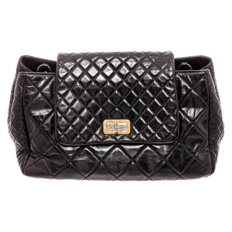 Chanel Black Lambskin Leather Reissue Accordion Flap Bag For Sale