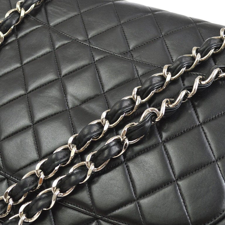 Women's Chanel Black Lambskin Leather Silver Jumbo Evening Shoulder Flap Bag For Sale