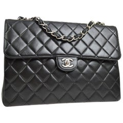Chanel Black Lambskin Leather Silver Jumbo Evening Shoulder Flap Bag