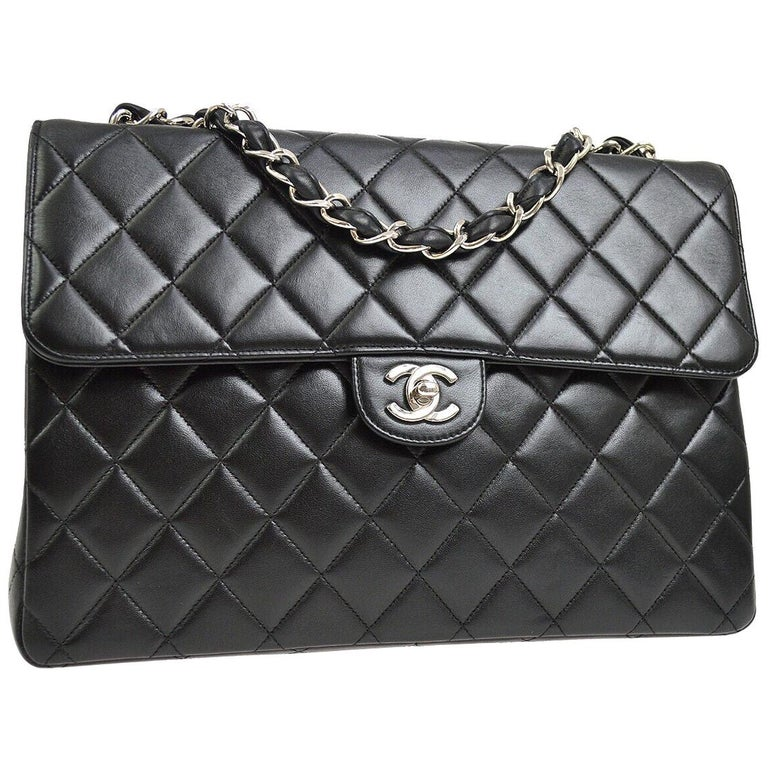 Chanel Black Lambskin Leather Silver Jumbo Evening Shoulder Flap Bag For Sale