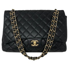 Chanel Black Lambskin Maxi Bag
