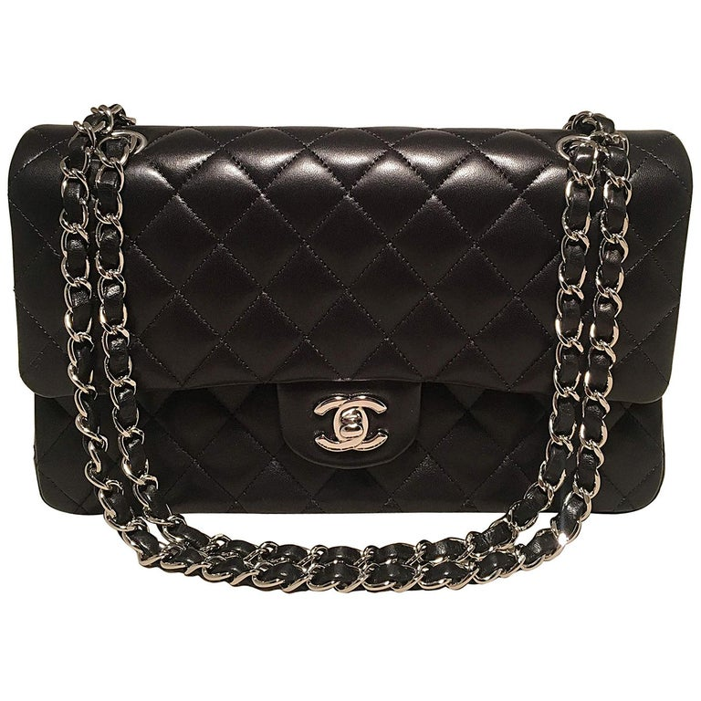 fcb2828681dc Chanel Black Lambskin Medium 10 inch 2.55 Double Flap Classic Shoulder Bag  For Sale