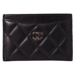 Chanel Black Lambskin Quilted CC Cardholder Wallet (2011)