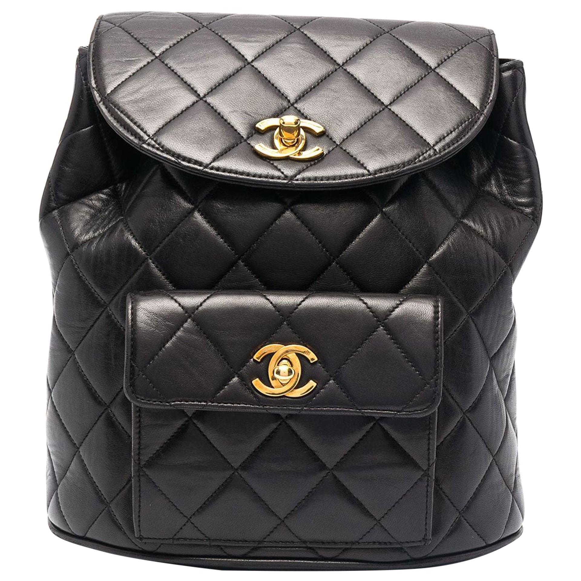 Chanel Black Lambskin Quilted Medium 90's Vintage Backpack