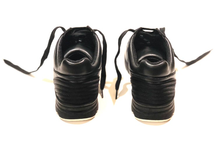 Women's or Men's Chanel Black Lambskin Sneakers  For Sale