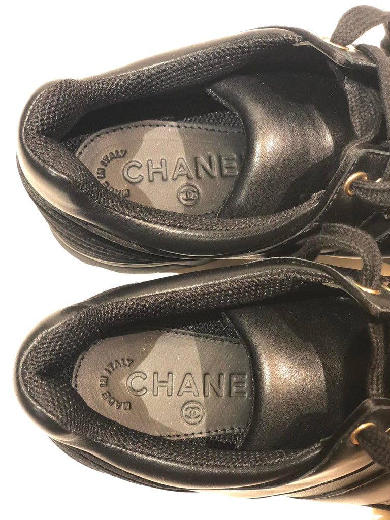 Chanel Black Lambskin Sneakers  For Sale 1