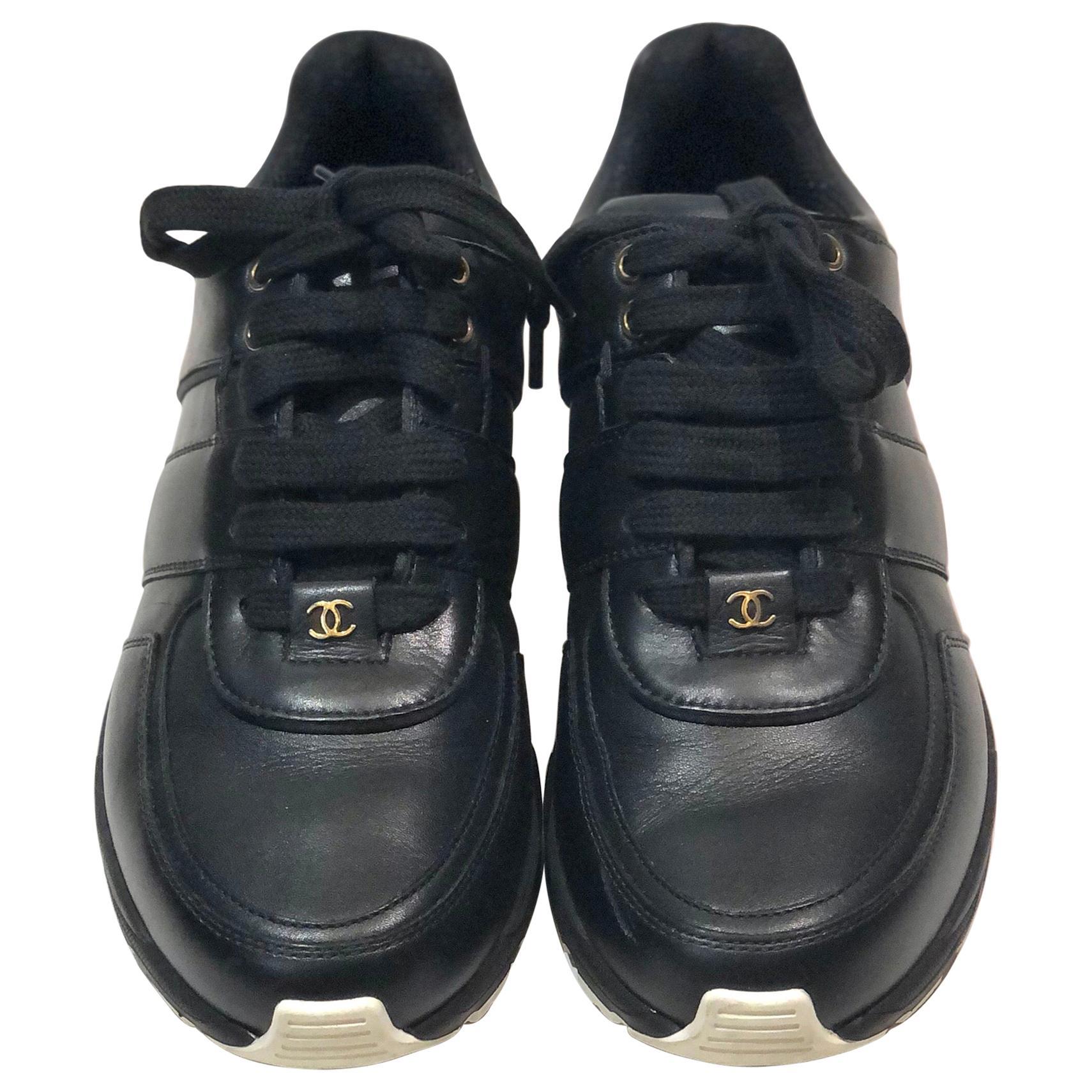 Chanel Black Lambskin Sneakers