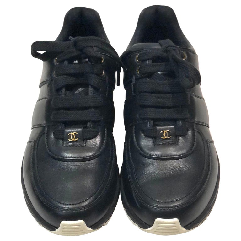 Chanel Black Lambskin Sneakers  For Sale