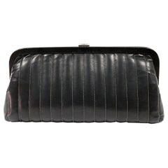 Chanel Black Lambskin Vertical Stitch Clutch