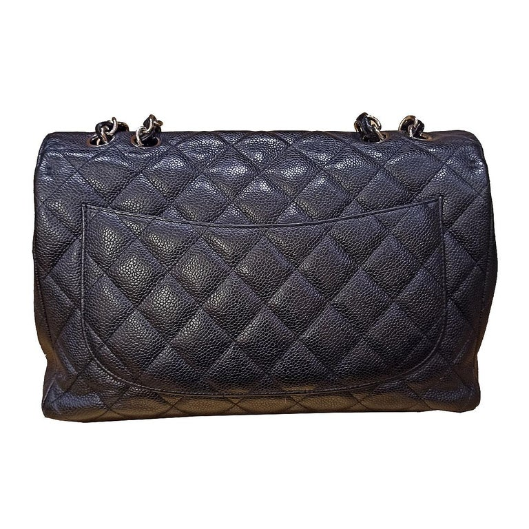 Fantastic and iconic Chanel bag  Year 2009/2010 Caviar leather Black color Metal silver chain CC Closure External pocket No card Serial number inside Cm  30 × 19.5 x 10 (11.8 x 7.67 x 3.93 inches) With dustbag and box Perfect external conditions,
