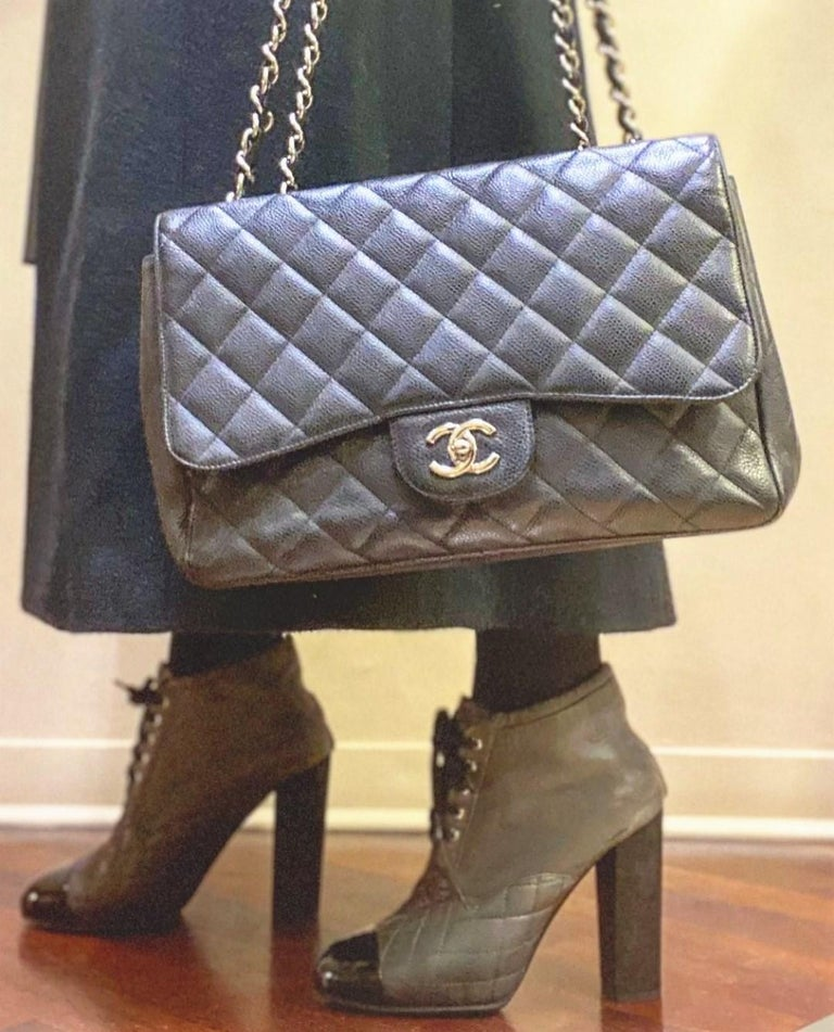 Chanel Black Large Classic Bag For Sale 3