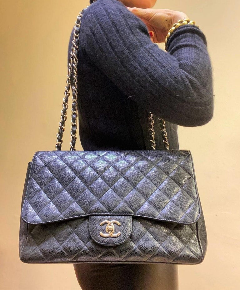 Chanel Black Large Classic Bag For Sale 4