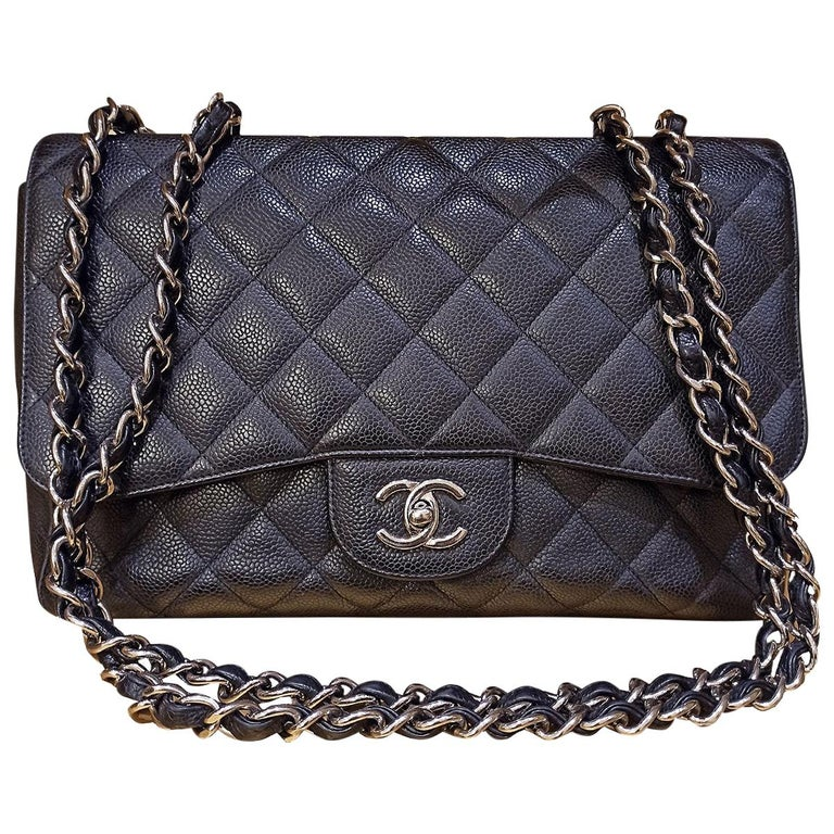Chanel Black Large Classic Bag For Sale