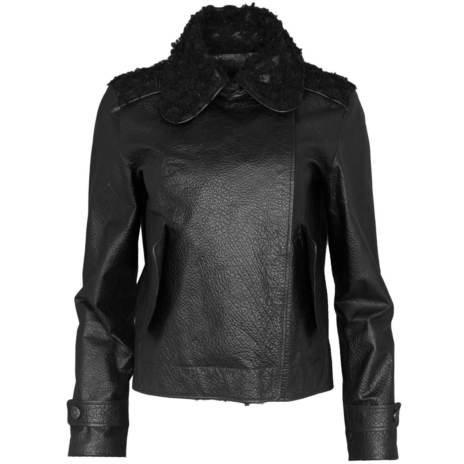Chanel Black Leather And Metallic Tweed Moto Jacket, 2012