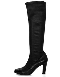Chanel Black Leather & Patent Cap-Toe Boots Sz 38