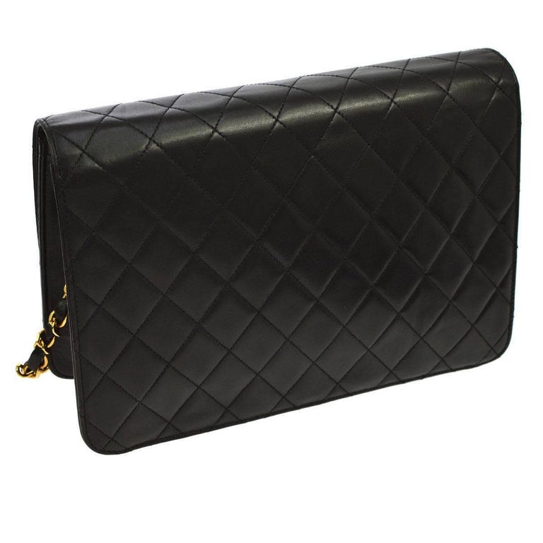 Women's Chanel Black Leather 2 in 1 Envelope Clutch Single Flap Shoulder Bag