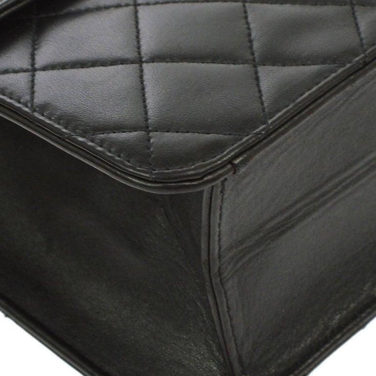 Chanel Black Leather 2 in 1 Envelope Clutch Single Flap Shoulder Bag 2