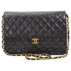 Chanel Black Leather 2 in 1 Envelope Clutch Single Flap Shoulder Bag
