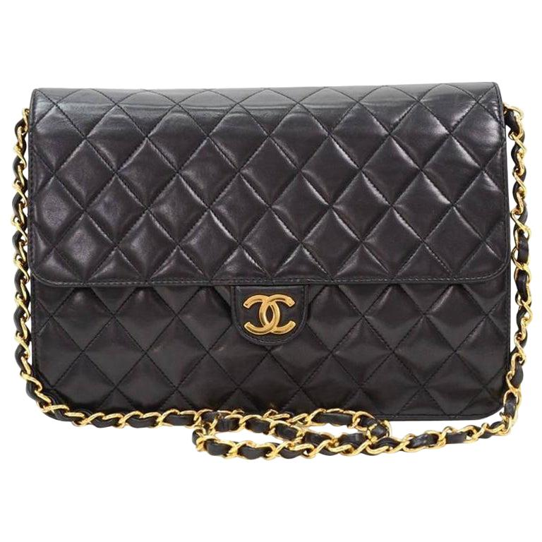 Chanel Black Leather 2 in 1 Envelope Clutch Single Flap Shoulder Bag