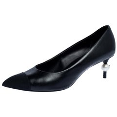 Chanel Black Leather and Canvas CC Pearl Embellished Pointed Toe Pumps Size 38.5
