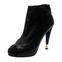 Chanel Black Leather And Fabric Cap Toe CC Ankle Boots Size 37.5