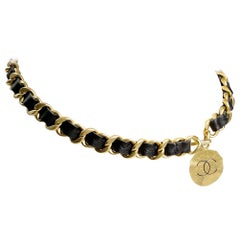 Chanel Black Leather and Gold Chain Medallion Belt Necklace