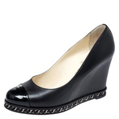 Chanel Black Leather And Patent Leather CC Cap Toe Chain Embellished Size 38