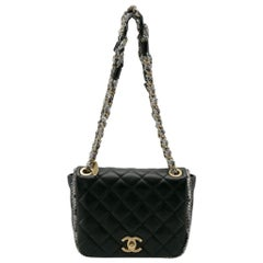 Chanel Black Leather and Tweed Trim CC Turnlock Flap Bag