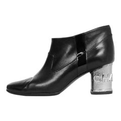 Chanel Black Leather Ankle Bootie with Metal Heel sz 39