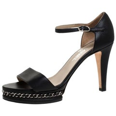 Chanel Black Leather Ankle Strap Chain Sandals Size 39.5