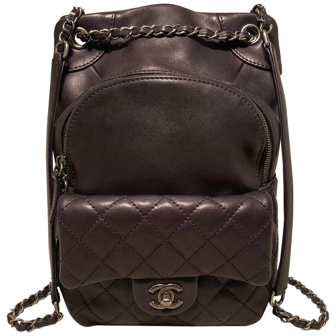 Chanel Black Leather Drawstring Backpack