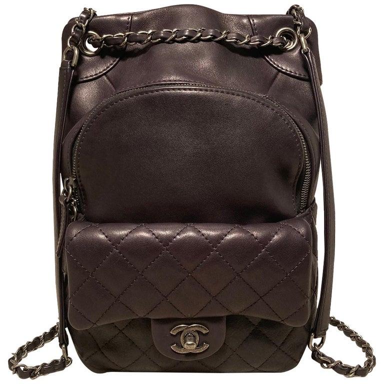 Chanel Black Leather Drawstring Backpack For Sale