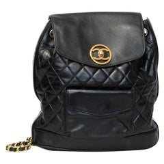 Chanel Vintage Black Lambskin Quilted Jumbo Backpack