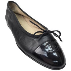 Chanel Black Leather Ballet Flats w/ Patent Toe & Bow-39
