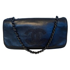 Chanel Black Leather Beaded CC Top Flap Classic Shoulder Bag
