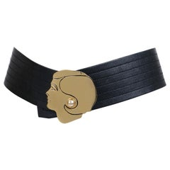 Chanel Black Leather Belt with Gold Profile Face