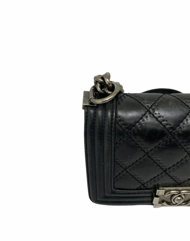 Chanel Black Leather  Boy Bag  For Sale 6
