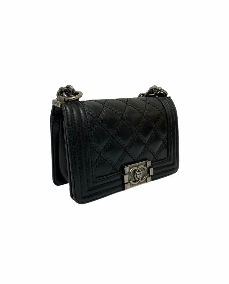 Chanel Black Leather  Boy Bag  For Sale 7