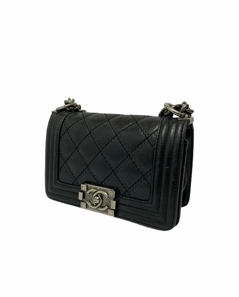 Chanel Black Leather  Boy Bag  For Sale 8