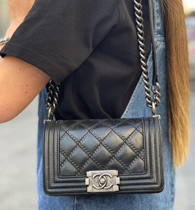 Chanel Black Leather  Boy Bag  For Sale 9