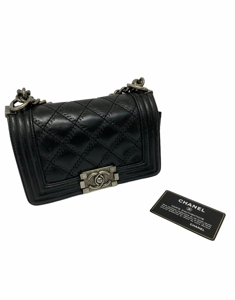 Chanel Black Leather  Boy Bag  In Excellent Condition For Sale In Torre Del Greco, IT
