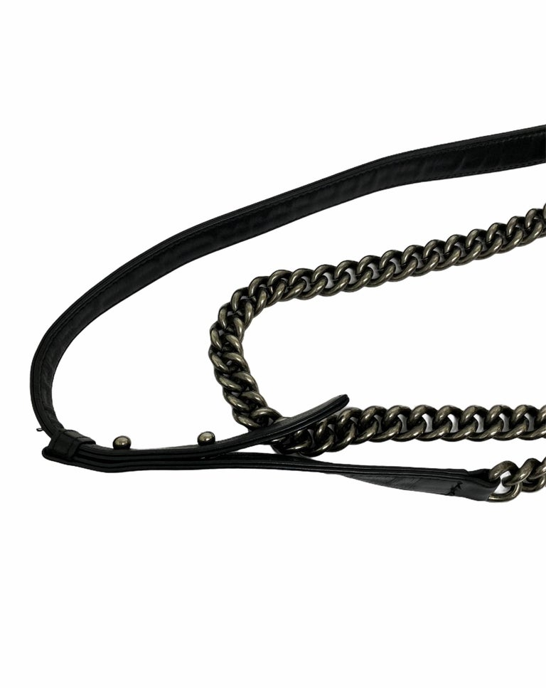 Women's Chanel Black Leather  Boy Bag  For Sale