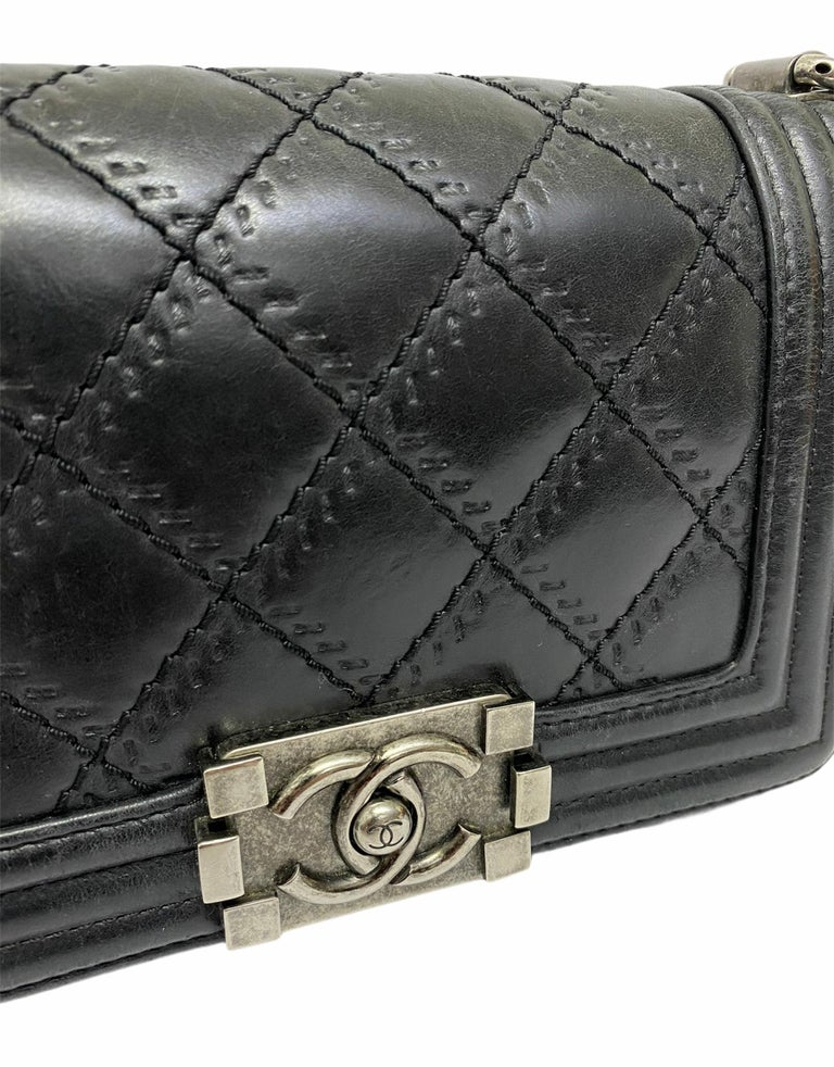 Chanel Black Leather  Boy Bag  For Sale 1